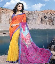 Saara Orange & Yellow coloured 60 gm plain georgette Saree