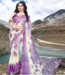 Saara Purple & White coloured 60 gm. georgette Saree