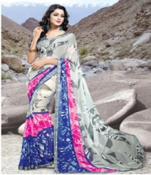 Saara White coloured 60 gm. georgette Saree