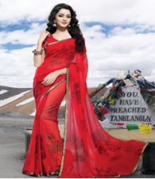 Saara Red coloured 60 gm. georgette Saree