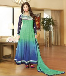 Enticing Green & Blue coloured Pure Georgette Salwar Kameez