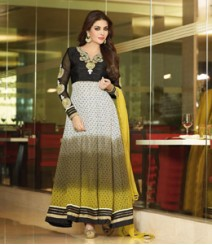 Enthralling Black & White coloured Pure Georgette Salwar Kameez