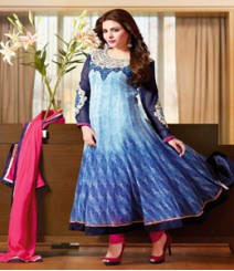Charming Blue coloured Pure Georgette Salwar Kameez