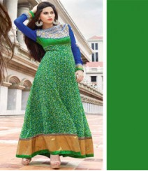 Elegant Green & Blue coloured Georgette Anarkali Suits