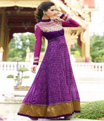 Dramatic Purple coloured Georgette Anarkali Suits