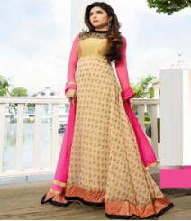 Beguiling Golden & Beige coloured Georgette Anarkali Suits