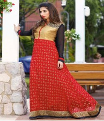 Subtle Golden & Red coloured Georgette Anarkali Suits