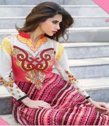 Modish Pink & White coloured Georgette Anarkali Suits