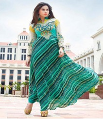 Captivating Green & White coloured Georgette Anarkali Suits