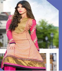 Charming Golden & Beige coloured Georgette Anarkali Suits