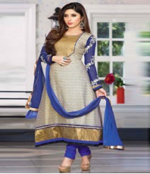 Beautiful Blue & Beige coloured Georgette Anarkali Suits