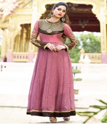 Simplistic Pink & Brown coloured Georgette Anarkali Suits