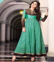 Dainty Green & Brown coloured Georgette Anarkali Suits