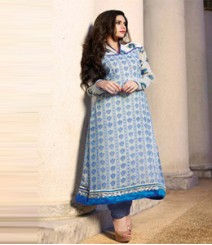 Stupendous Blue & White coloured Georgette Anarkali Suits