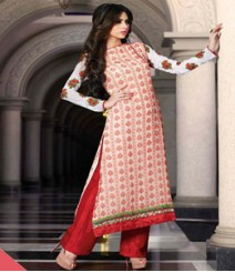 Simplistic Red & White coloured Georgette Anarkali Suits