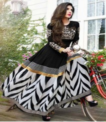 Dainty Black & White coloured Georgette Anarkali Suits