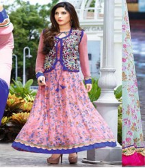 Stupendous Pink & Blue coloured Georgette Anarkali Suits