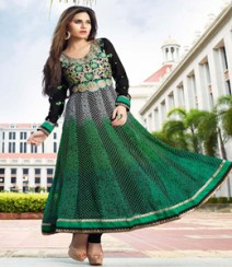 Attractive Green & Black coloured Georgette Anarkali Suits