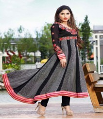 Brilliant Black coloured Georgette Anarkali Suits
