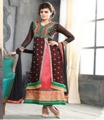 Saara Black & Peach coloured Semi-Stitched Salwar Kameez