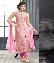 Saara Pink coloured Semi-Stitched Salwar Kameez