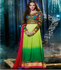Saara Green coloured Semi Stitched Salwar Kameez