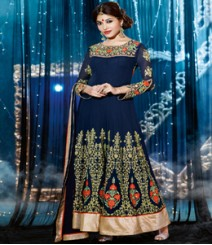 Saara Blue coloured Semi-Stitched Salwar Kameez