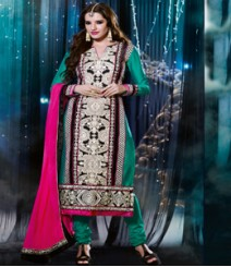 Saara Green & White coloured Semi-Stitched Salwar Kameez