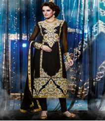 Saara Black coloured Semi Stitched Salwar Kameez