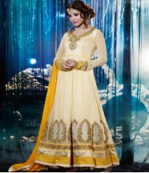 Saara Cream & Yellow coloured Semi Stitched Salwar Kameez