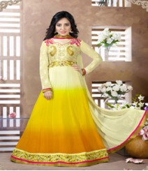Saara Cream & Yellow coloured Semi-Stitched Salwar Kameez