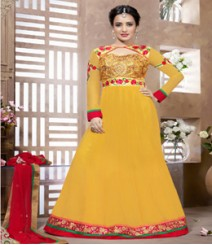 Saara Yellow coloured Semi-Stitched Salwar Kameez