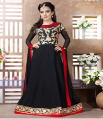Saara Black coloured Semi-Stitched Salwar Kameez