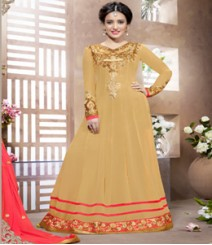 Saara Beige coloured Semi-Stitched Salwar Kameez