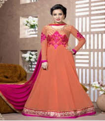Saara Orange coloured Semi-Stitched Salwar Kameez