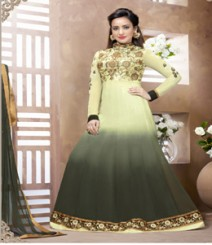 Saara Olive Green coloured Semi-Stitched Salwar Kameez