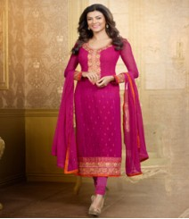 Saara Pink coloured Straight Cut(Dress Material) Salwar Kameez