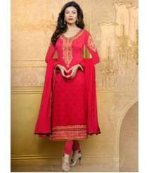 Saara Red coloured Straight Cut(Dress Material) Salwar Kameez