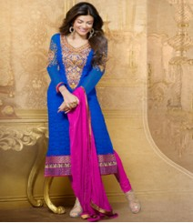 Saara Blue coloured Straight Cut(Dress Material) Salwar Kameez