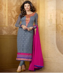 Saara Grey coloured Straight Cut(Dress Material) Salwar Kameez