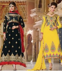 Pure Georgette Semi-Stitched Embroidered Salwar Kameez LFS35008010