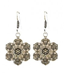 Beautiful Carved Flower Hoops FAAPER09 Earrings Made from German Silver