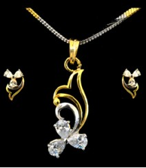 The Elegant Flower AD Pendant Set (with Chain) FSNV19