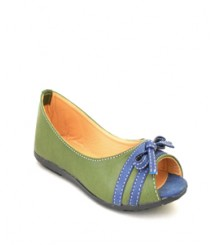Flat Olive/Blue Peeptoes