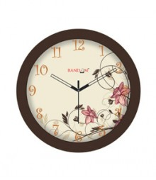 Random Sleek-Brown Analog Wall Clock RC-0309-BROWN