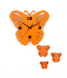 Random Butterfly Set Analog Wall Clock RC-0314-ORANGE