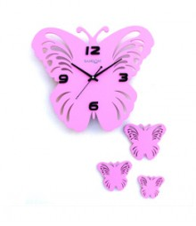 Random Butterfly Set Analog Wall Clock RC-0314-PINK
