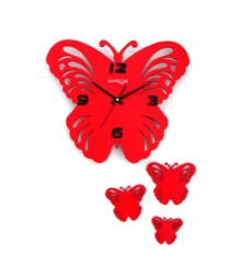 Random Butterfly Set Analog Wall Clock RC-0314-RED