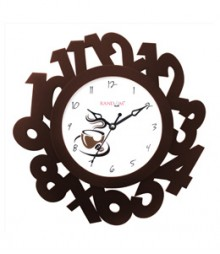 Random Eco Numbers Analog Wall Clock RC-0327-BROWN