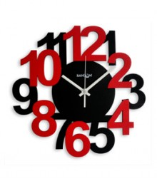 Random Bold & Beautiful Analog Wall Clock RC-0332-BLACK-RED